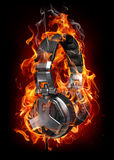 Headphones in fire Stock Photos