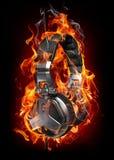 Headphones in fire Stock Photos