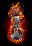 Headphones in fire Royalty Free Stock Photo