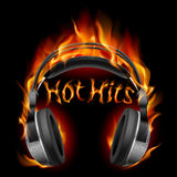 Headphones in fire Stock Photo