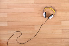 Headphones on the floor Royalty Free Stock Photo