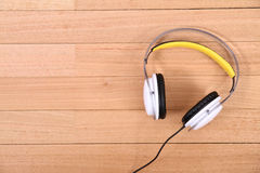 Headphones on the floor Royalty Free Stock Image