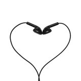Headphones folded in the form of heart Stock Images