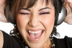 Headphones Girl Royalty Free Stock Images