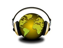 Headphones and globe Royalty Free Stock Photos