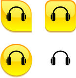 Headphones glossy button. Royalty Free Stock Photo