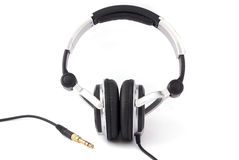 Headphones with gold plug Royalty Free Stock Photography