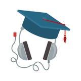 Headphones with graduation cap Royalty Free Stock Photos