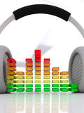 Headphones graphic equalizer Royalty Free Stock Image