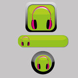 Headphones. On green square, rectangle or circle Royalty Free Stock Image
