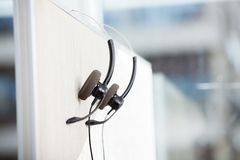 Headphones Hanging In Empty Office Stock Photos