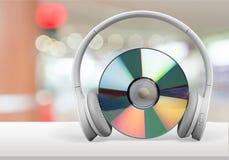 Headphones. Music dvd guitar telephone cd-rom jazz Stock Photos
