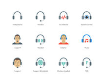 Headphones and headset color icons on white. Pictogram collection of Headphones and Support, Headset, Sound wave, Volume control and Listener for Website Call Royalty Free Stock Photos