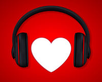 Headphones and Heart. Concept for Love Listening to Music Stock Image