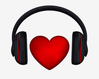 Headphones and Heart. Concept for Love Listening to Music Royalty Free Stock Photo