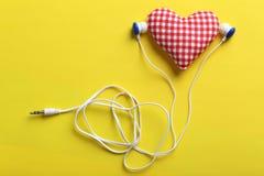 Headphones and heart Stock Photo