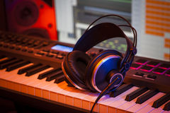 Headphones in a Home Studio Stock Photo