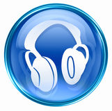 Headphones icon blue Royalty Free Stock Photos