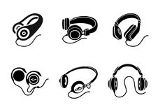 Headphones icon set in black on white background Stock Photo