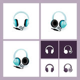 Headphones icon set. Headphones illustration and icon set Royalty Free Stock Images