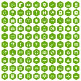100 headphones icons hexagon green. 100 headphones icons set in green hexagon isolated vector illustration stock illustration