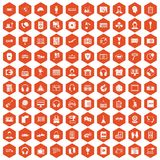 100 headphones icons hexagon orange. 100 headphones icons set in orange hexagon isolated vector illustration stock illustration