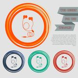 Headphones icons on the red, blue, green, orange buttons for your website and design with space text. Illustration Stock Photography