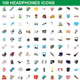 100 headphones icons set, cartoon style Stock Photo