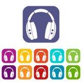 Headphones icons set flat stock illustration