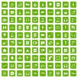 100 headphones icons set grunge green Royalty Free Stock Photos