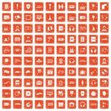 100 headphones icons set grunge orange. 100 headphones icons set in grunge style orange color isolated on white background vector illustration Stock Photo