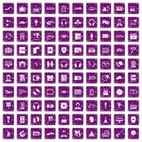 100 headphones icons set grunge purple Royalty Free Stock Images