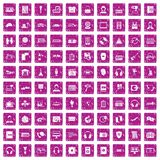 100 headphones icons set grunge pink. 100 headphones icons set in grunge style pink color isolated on white background vector illustration Stock Image