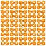 100 headphones icons set orange. 100 headphones icons set in orange circle isolated on white vector illustration Royalty Free Stock Images