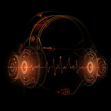 Headphones illustration with sound wave beats Stock Photography