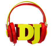 Headphones with the inscription dj Royalty Free Stock Images