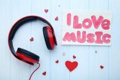 Headphones with inscription I Love Music stock photos