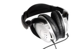 Headphones isolated. Black headphones isolated on white Stock Photo