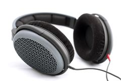 Headphones isolated. Black headphones on white background Stock Image