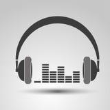 Headphones Isolated on White Background. Headphones on a white background with equalizer,design media royalty free illustration