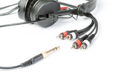 Headphones and jack plugs Stock Photography