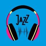 Headphones with jazz Stock Photo