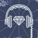 Headphones jewel icon Royalty Free Stock Image
