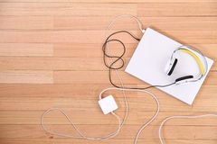 Headphones and a Laptop Stock Photography