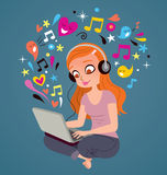 Headphones laptop girl Stock Photography