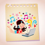Headphones laptop pretty girl note paper cartoon illustration Stock Images