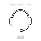 Headphones. Linear vector icon. Royalty Free Stock Images