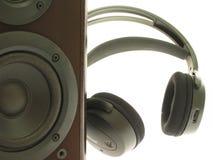 Headphones and loudspeaker stock image