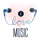 Headphones with love letters Royalty Free Stock Photography