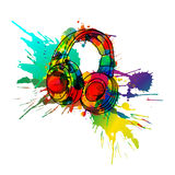 Headphones made of colorful splashes. Headphones made of colorful grunge splashes Stock Photo